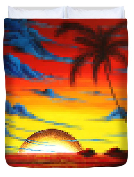Coastal Tropical Abstract Colorful Pixel Art Digital Painting Compilation Tropical Bliss By Madart Duvet Cover by Megan Duncanson