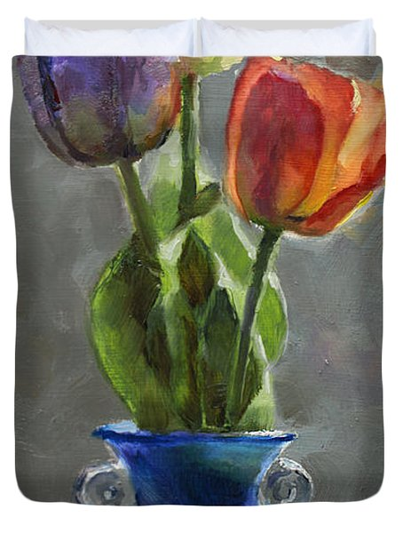 Cobalt And Tulips Still Life Painting Duvet Cover