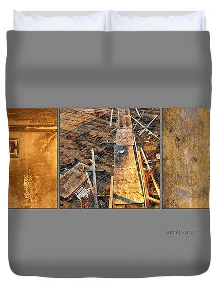 Cobalt Grey Triptych Image Art Duvet Cover