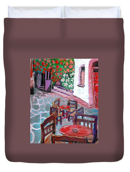 Duvet Cover featuring the painting Cobble Stone Street  By Janelle Dey by Janelle Dey