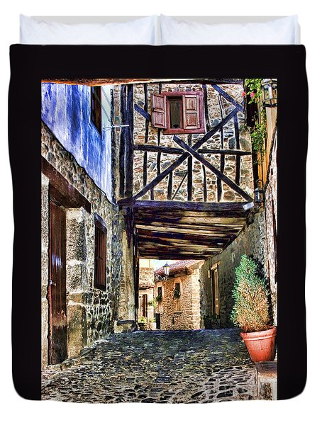Cobble Streets Of Potes Spain By Diana Sainz Duvet Cover