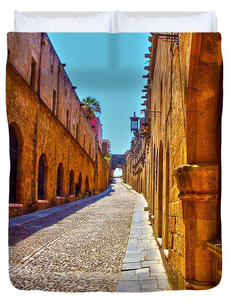 Rhodes Cobbled Street Duvet Cover by Scott Carruthers