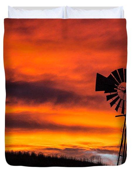 Cobblestone Windmill At Sunset Duvet Cover