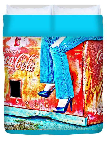 Coca-cola And Stiletto Heels Duvet Cover