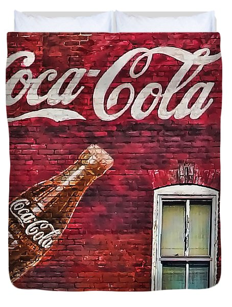 Duvet Cover featuring the photograph Coca Cola by B Wayne Mullins