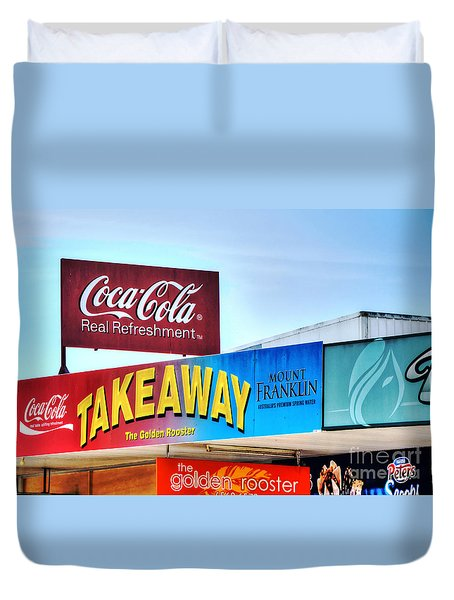 Coca-cola - Old Shop Signage Duvet Cover by Kaye Menner