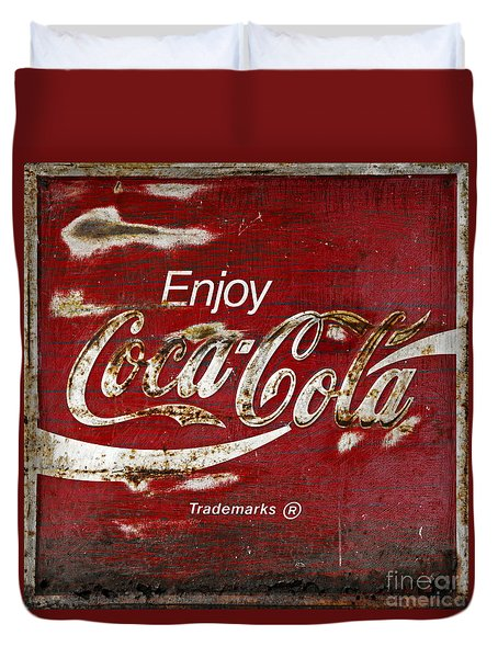 Coca Cola Red Grunge Sign Duvet Cover by John Stephens
