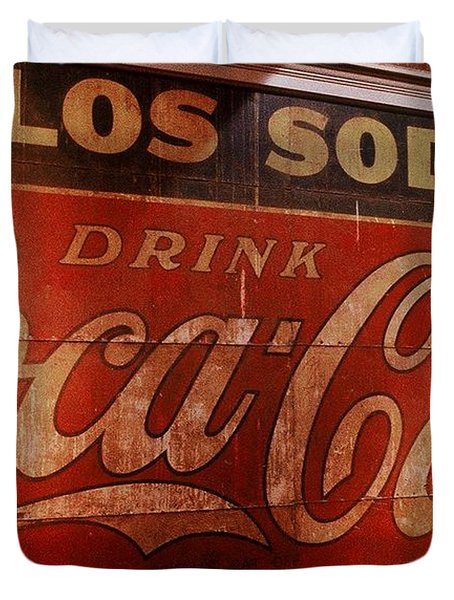 Duvet Cover featuring the photograph Coca Cola Sign by Rodney Lee Williams