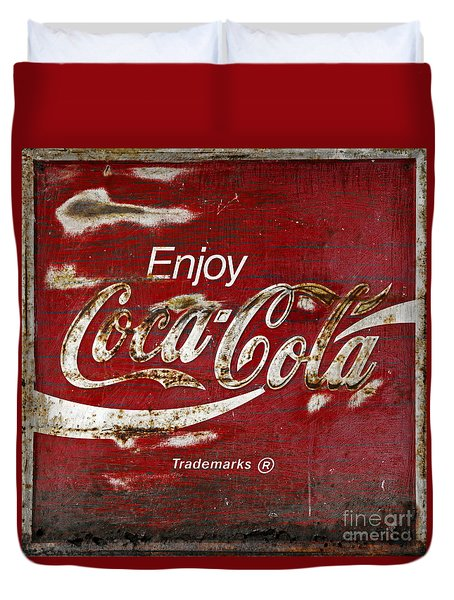Coca Cola Wood Grunge Sign Duvet Cover