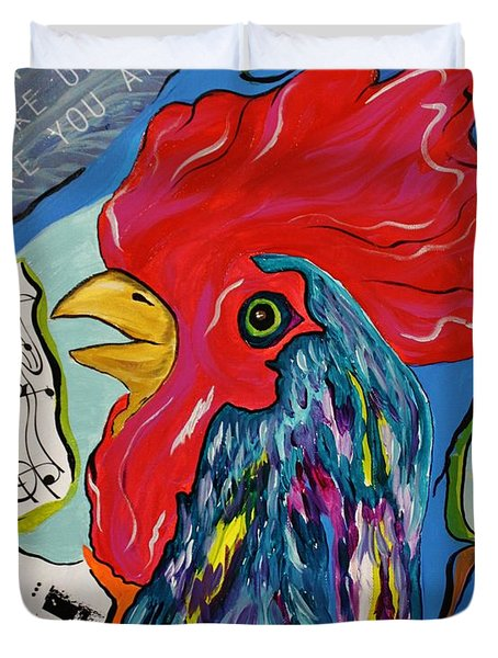 Cock-a-doodle-do Duvet Cover by Janice Rae Pariza