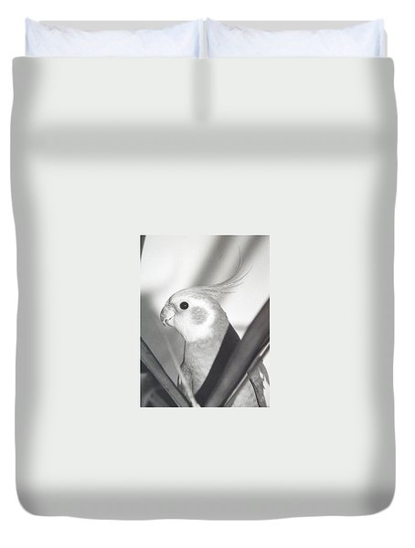 Duvet Cover featuring the photograph Cockatiel In Palm by Belinda Lee