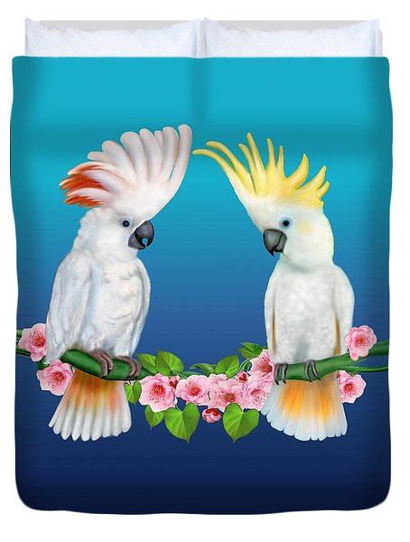 Cockatoo Courtship Duvet Cover by Glenn Holbrook