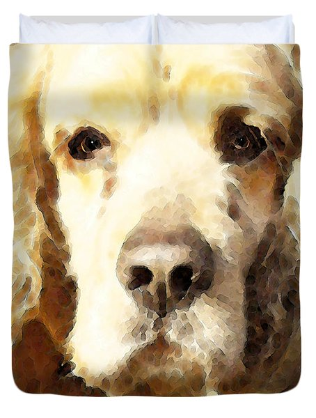 Cocker Spaniel Art - Mellow Yellow Duvet Cover by Sharon Cummings