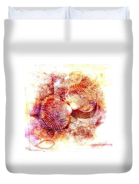 Duvet Cover featuring the digital art Cockle Clamshell by Richard Farrington
