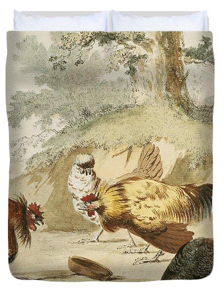 Cocks Fighting Duvet Cover by Melchior de Hondecoeter