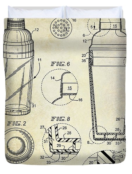 Cocktail Shaker Patent Drawing Duvet Cover