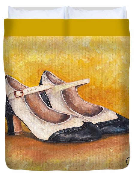 Pair Of 1920s Flappers Heels Mary Janes Duvet Cover