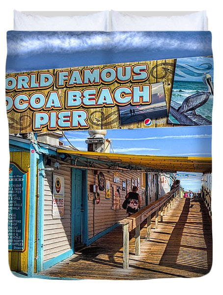 Cocoa Beach Pier In Florida Duvet Cover