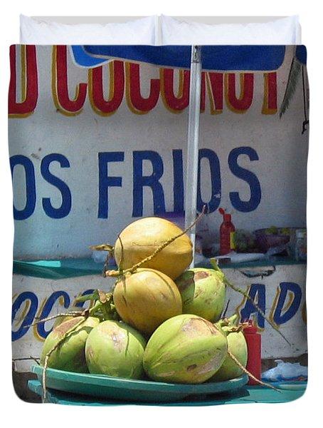 Coconuts - Mazatlan Duvet Cover by Cheryl Del Toro