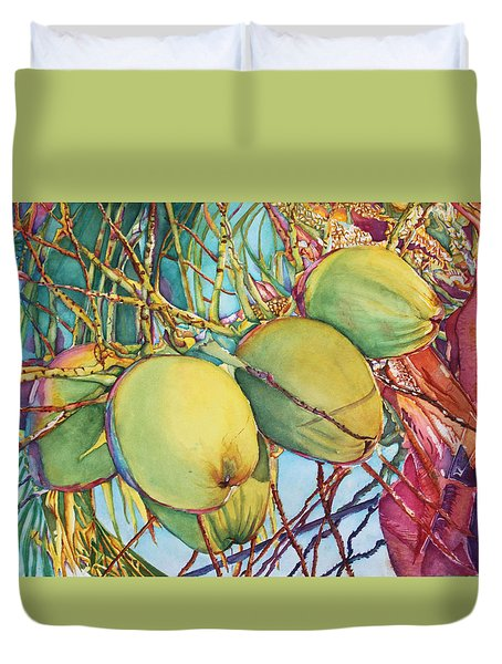 Coconuts At Sunset Duvet Cover