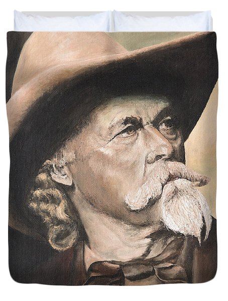 Duvet Cover featuring the painting Cody - Western Gentleman by Mary Ellen Anderson