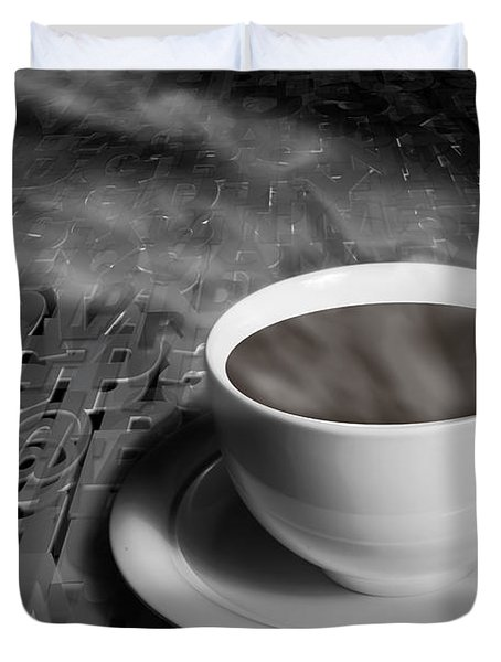 Coffe Cup And Saucer With Alphabet Lettering Duvet Cover by Randall Nyhof