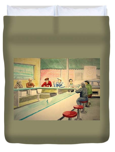 Coffee And Doughnuts Duvet Cover by Stacy C Bottoms