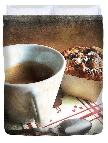 Coffee And Muffin Duvet Cover by Barbara Orenya