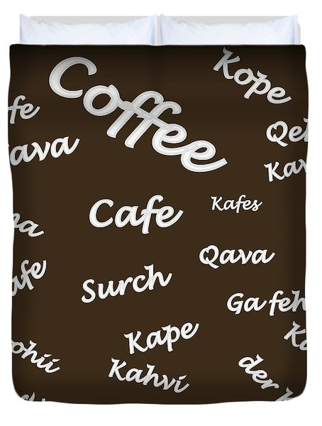 Duvet Cover featuring the digital art Coffee Around The World by Carolyn Repka