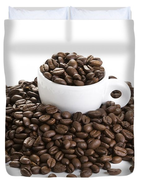 Duvet Cover featuring the photograph Coffee Beans And Coffee Cup Isolated On White by Lee Avison