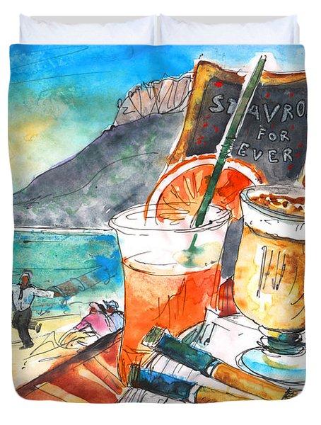 Coffee Break In Stavros In Crete Duvet Cover by Miki De Goodaboom