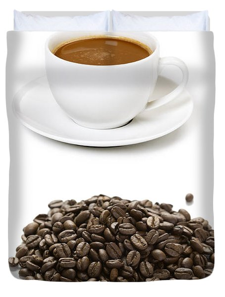 Duvet Cover featuring the photograph Coffee Cups And Coffee Beans by Lee Avison