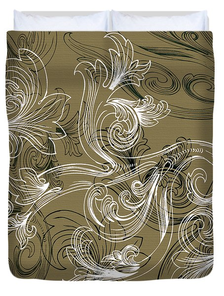 Coffee Flowers 2 Olive Duvet Cover