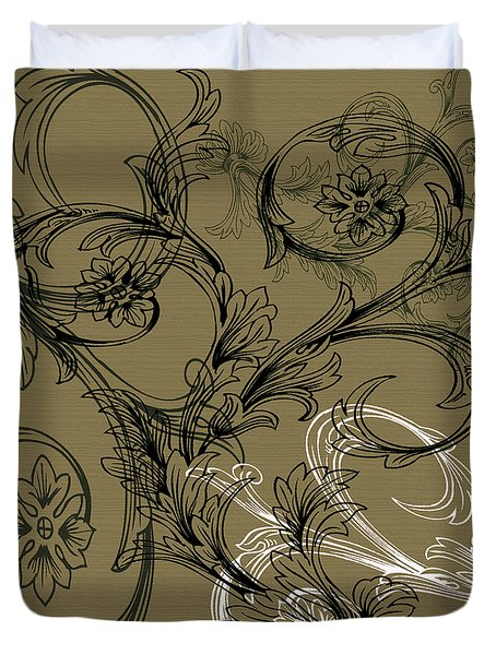 Coffee Flowers 3 Olive Duvet Cover