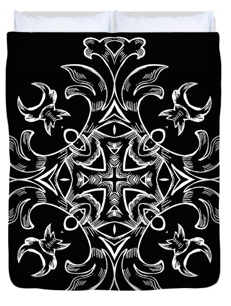 Coffee Flowers 7 Bw Ornate Medallion Duvet Cover by Angelina Vick