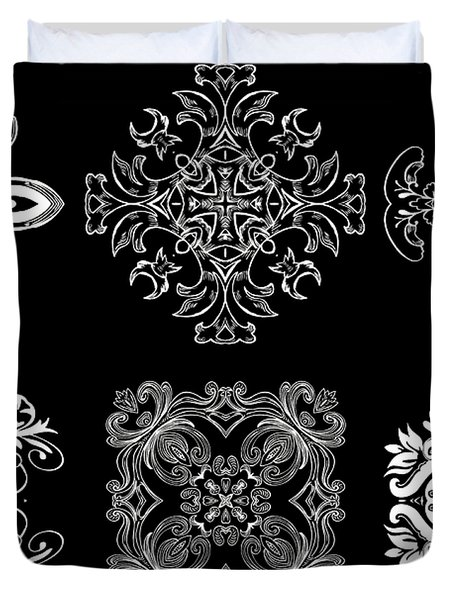 Coffee Flowers Ornate Medallions Bw 6 Peice Collage Duvet Cover by Angelina Vick