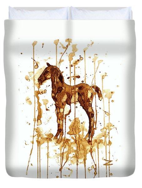 Coffee Foal Duvet Cover by Zaira Dzhaubaeva