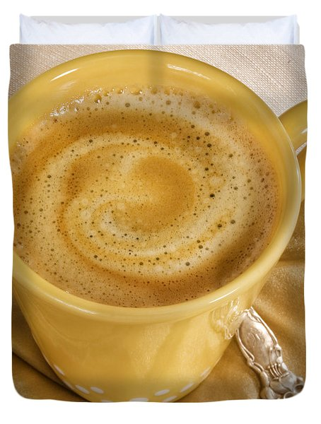 Coffee In Yellow Duvet Cover