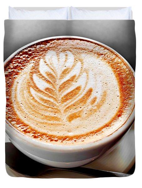 Coffee Latte With Foam Art Duvet Cover by Elena Elisseeva