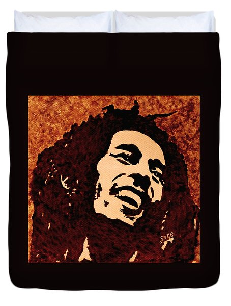Coffee Painting Bob Marley Duvet Cover