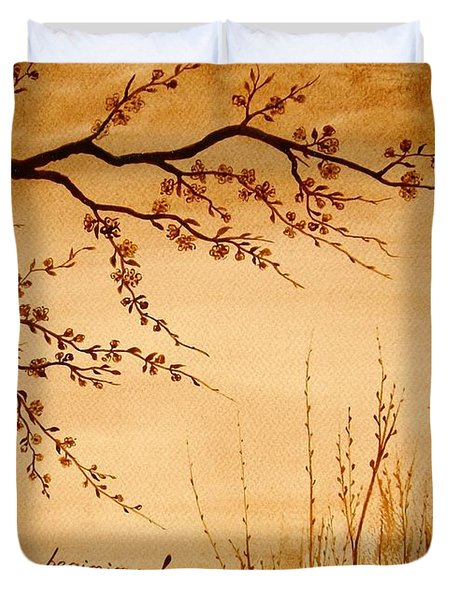 Coffee Painting Cherry Blossoms Duvet Cover by Georgeta  Blanaru