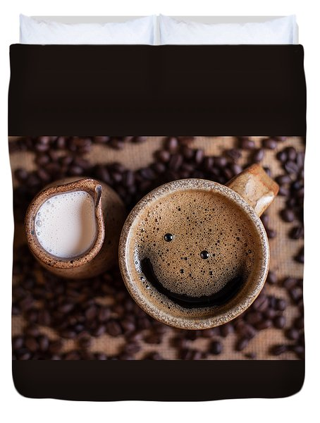 Duvet Cover featuring the photograph Coffee With A Smile by Aaron Aldrich