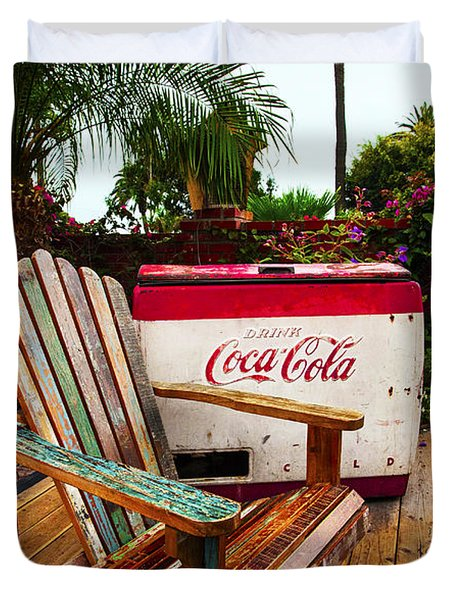 Vintage Coke Machine With Adirondack Chair Duvet Cover by Jerry Cowart