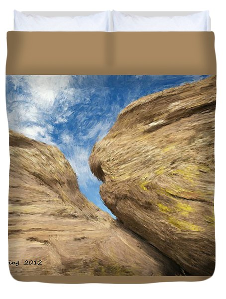 Duvet Cover featuring the painting Colby's Cliff by Bruce Nutting