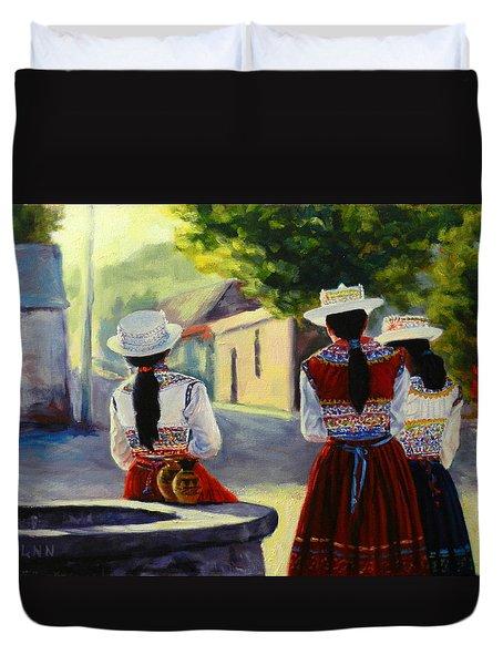 Colca Valley Ladies, Peru Impression Duvet Cover
