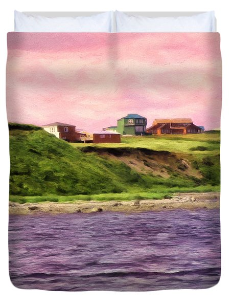 Cold Bay From The Dock Duvet Cover