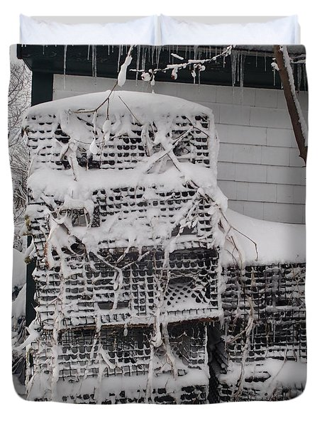 Duvet Cover featuring the photograph Cold Lobster Trap by Robert Nickologianis