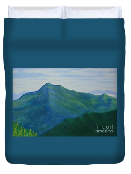 Duvet Cover featuring the painting Cold Mountain by Stacy C Bottoms