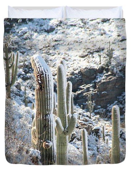 Cold Saguaros Duvet Cover