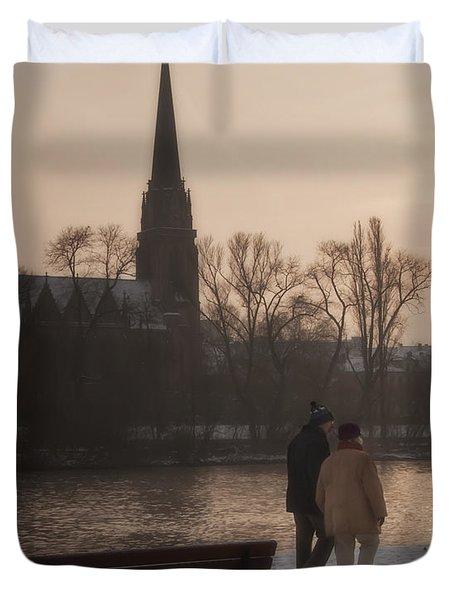 Cold Winter Light Duvet Cover by Joan Carroll